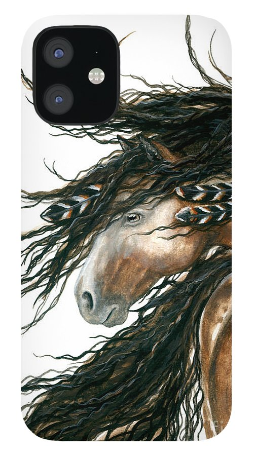 Horse IPhone 12 Case featuring the painting Majestic Pinto Horse 80 by AmyLyn Bihrle