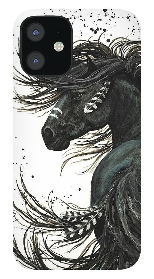 Mm65 IPhone 12 Case featuring the painting Majestic Spirit Horse I by AmyLyn Bihrle