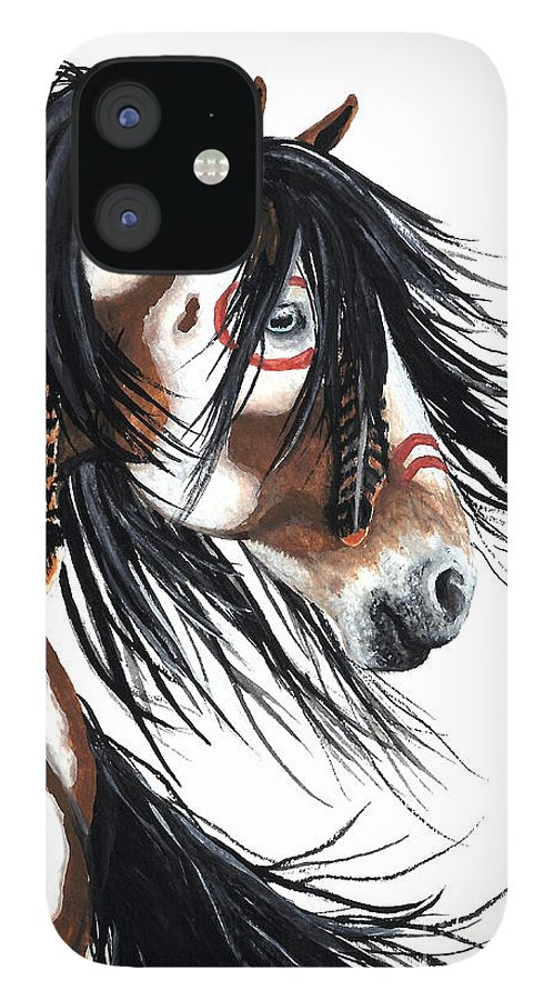Horse Artwork iPhone 12 Case featuring the painting Majestic Pinto horse by AmyLyn Bihrle