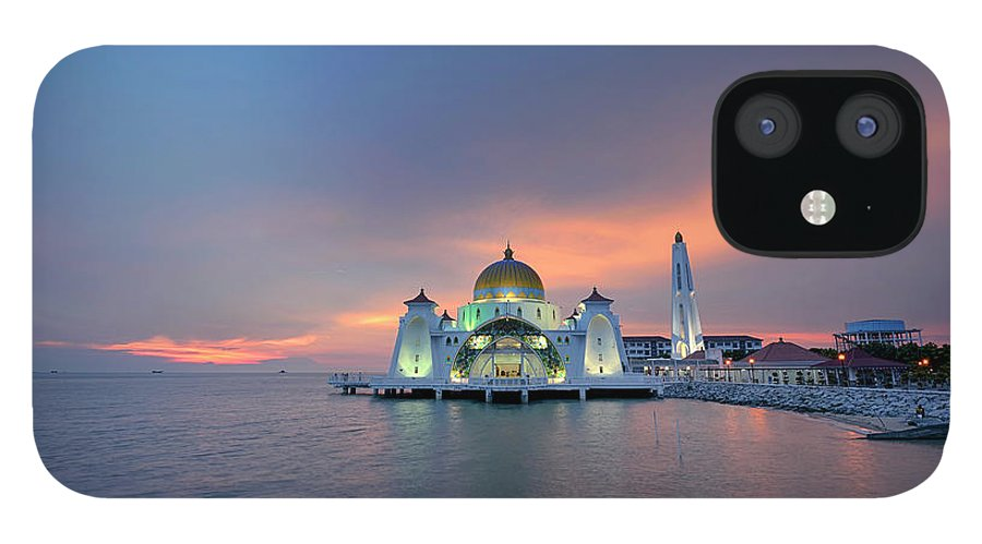 Mosque iPhone 12 Case featuring the photograph Malaysia - The Straits Mosque, Malacca by By Toonman