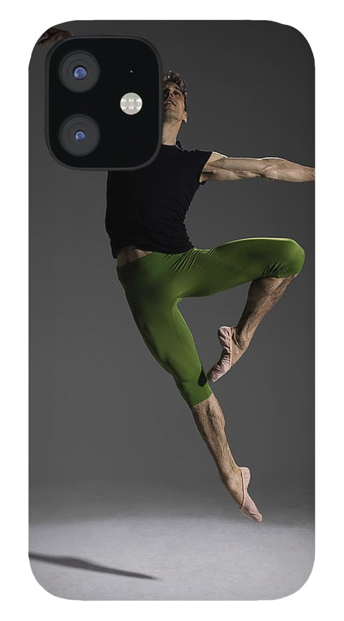Ballet Dancer IPhone 12 Case featuring the photograph Male Ballet Dancer Jumping In Passé by Nisian Hughes
