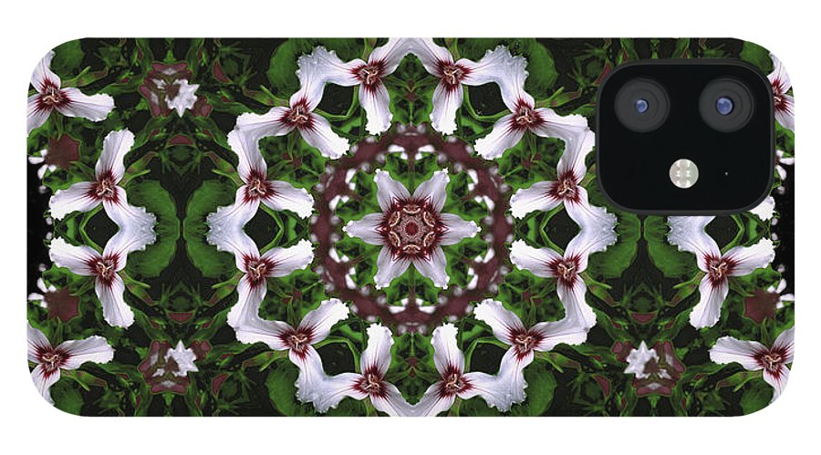 Mandala IPhone 12 Case featuring the digital art Mandala Trillium Holiday by Nancy Griswold