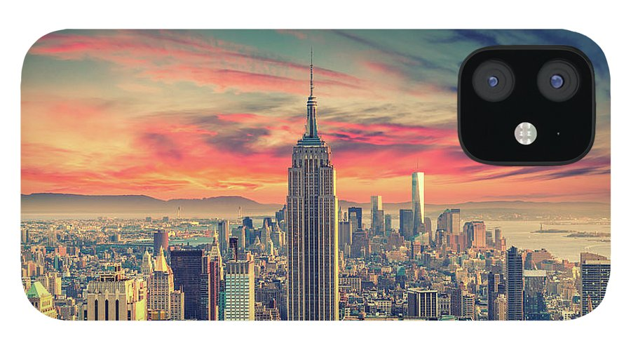 Panoramic IPhone 12 Case featuring the photograph Manhattan by Zsolt Hlinka