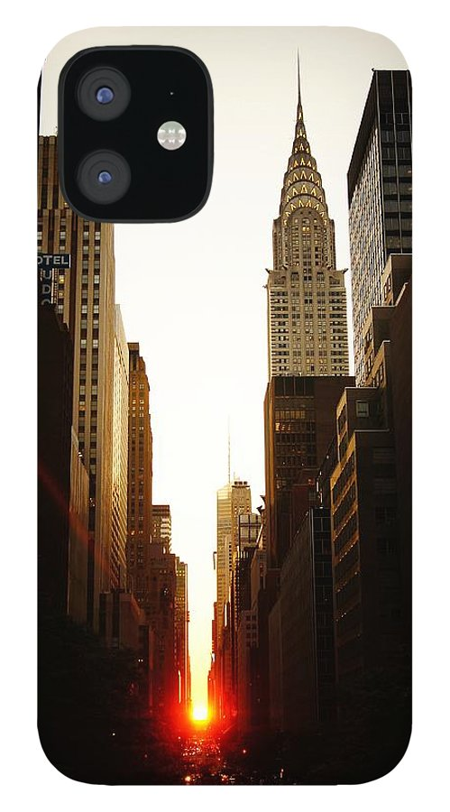 New York City IPhone 12 Case featuring the photograph Manhattanhenge Sunset and the Chrysler Building by Vivienne Gucwa
