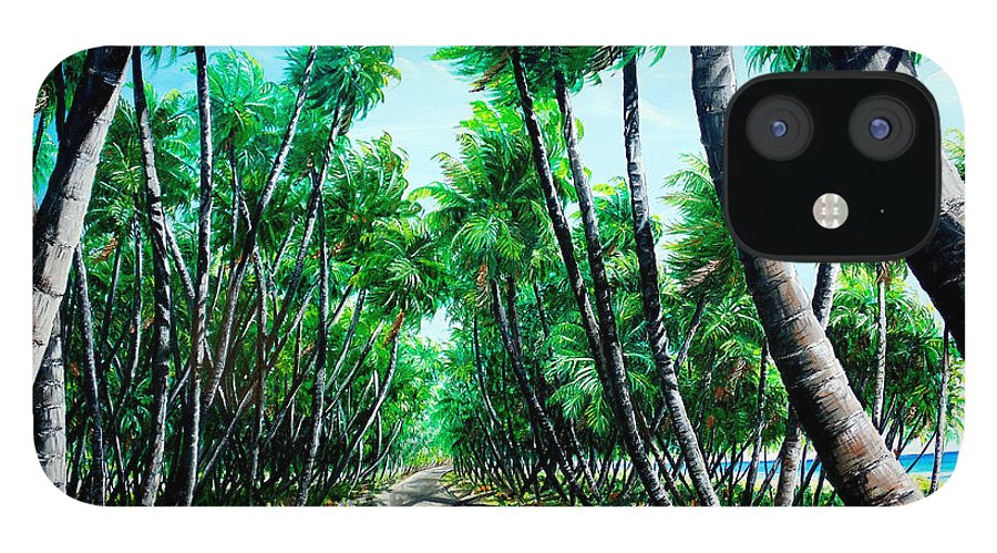 Coconut Trees IPhone 12 Case featuring the painting Manzanilla Coconut Estate by Karin Dawn Kelshall- Best