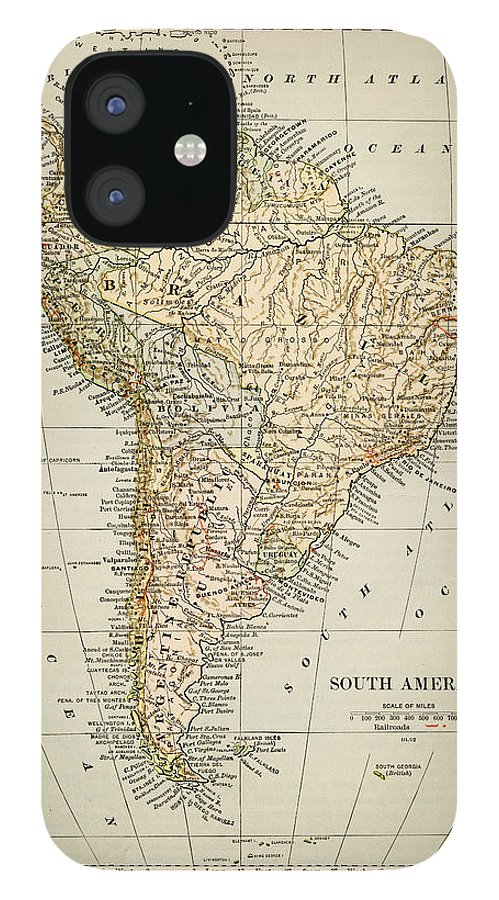 Burnt IPhone 12 Case featuring the photograph Map Of South America 1875 by Thepalmer
