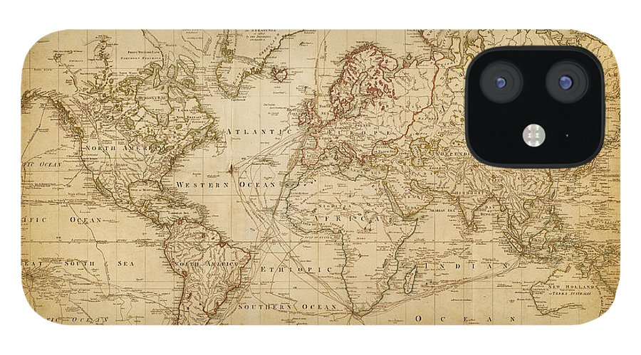 Globe IPhone 12 Case featuring the digital art Map Of The World 1800 by Thepalmer