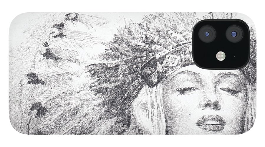 <a Href=http://miketheuer.com Target =_blank>www.miketheuer.com</a> IPhone 12 Case featuring the drawing Marilyn Monroe In Headdress Pencil Portrait by Mike Theuer