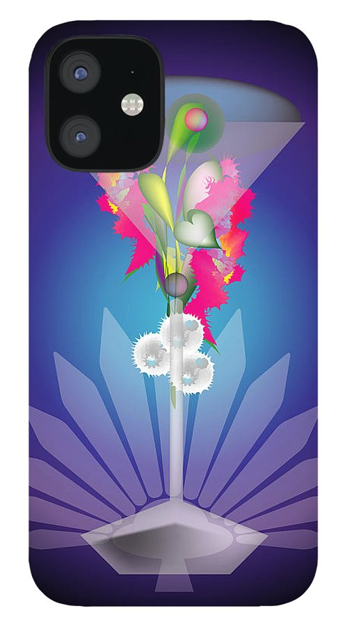 Martini IPhone 12 Case featuring the digital art Martini Flower by George Pasini