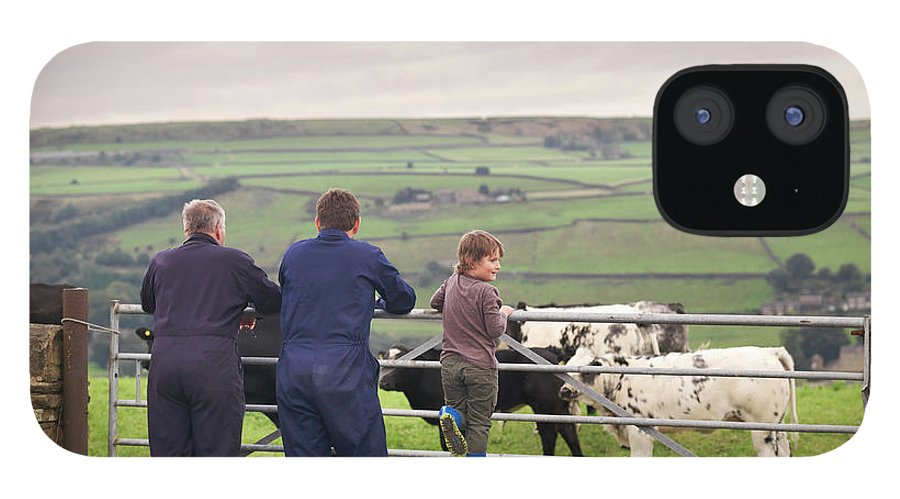 Mature Adult IPhone 12 Case featuring the photograph Mature Farmer, Adult Son And Grandson by Monty Rakusen