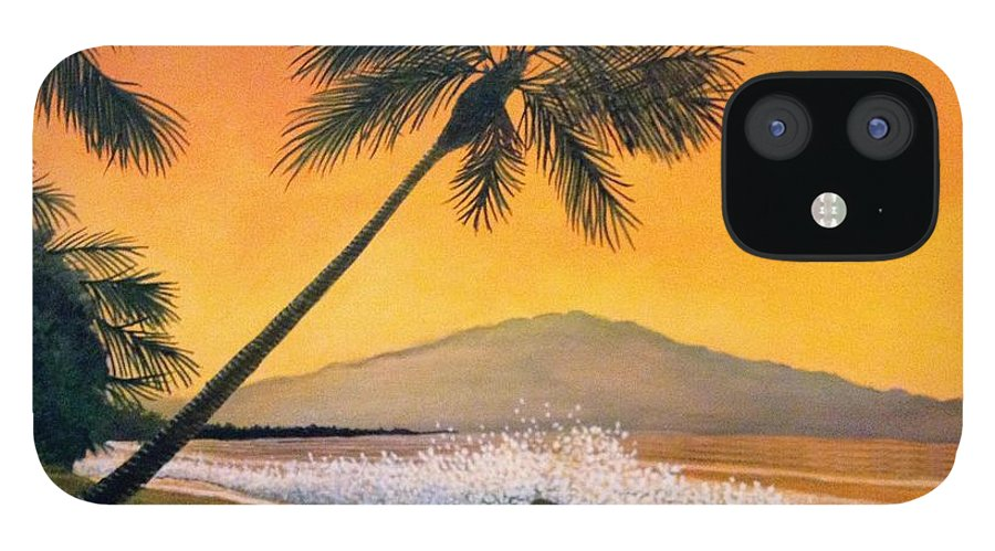 Rick Huotari IPhone 12 Case featuring the painting Maui Sunset by Rick Huotari
