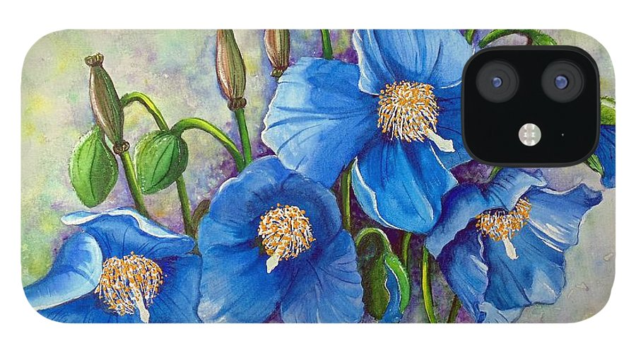 Blue Hymalayan Poppy IPhone 12 Case featuring the painting MECONOPSIS  Himalayan Blue Poppy by Karin Dawn Kelshall- Best