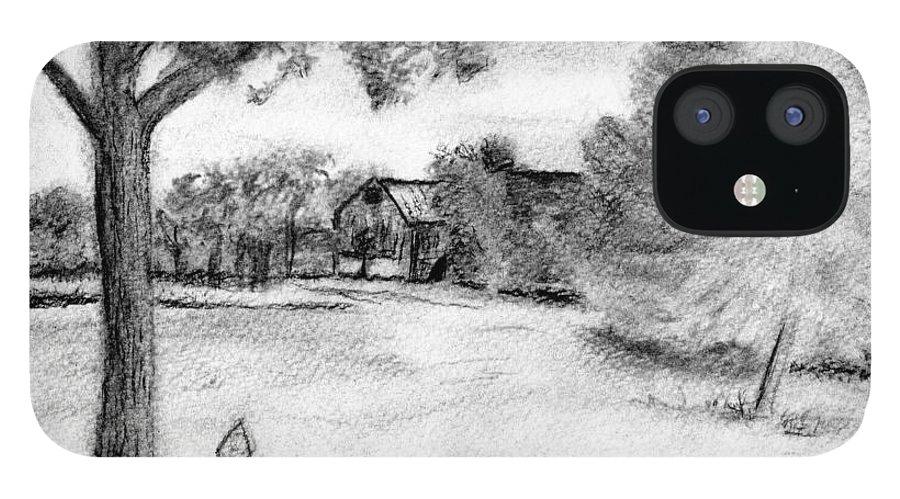 Farm iPhone 12 Case featuring the drawing Medford Farm by Sheila Mashaw