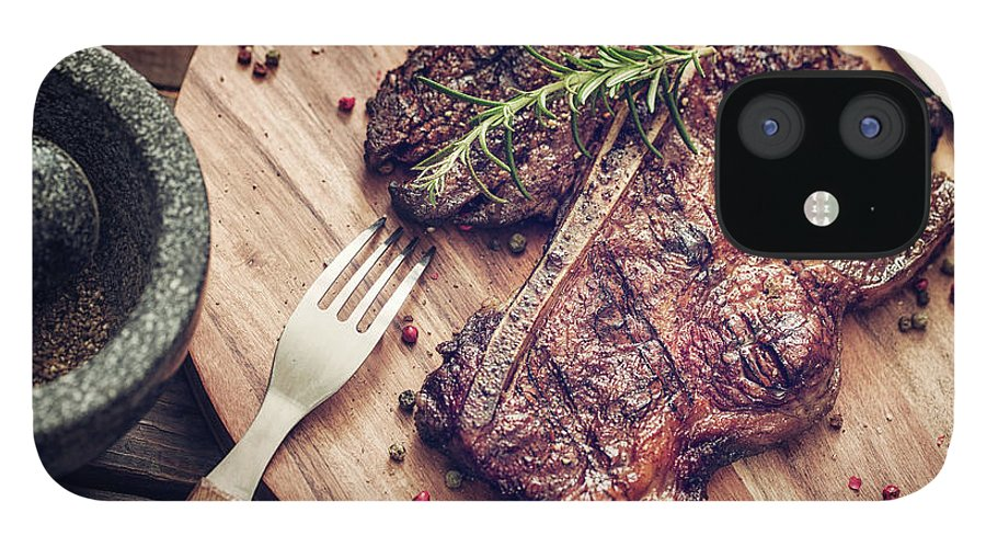 Rosemary IPhone 12 Case featuring the photograph Medium Roasted T-bone Steak by Gmvozd