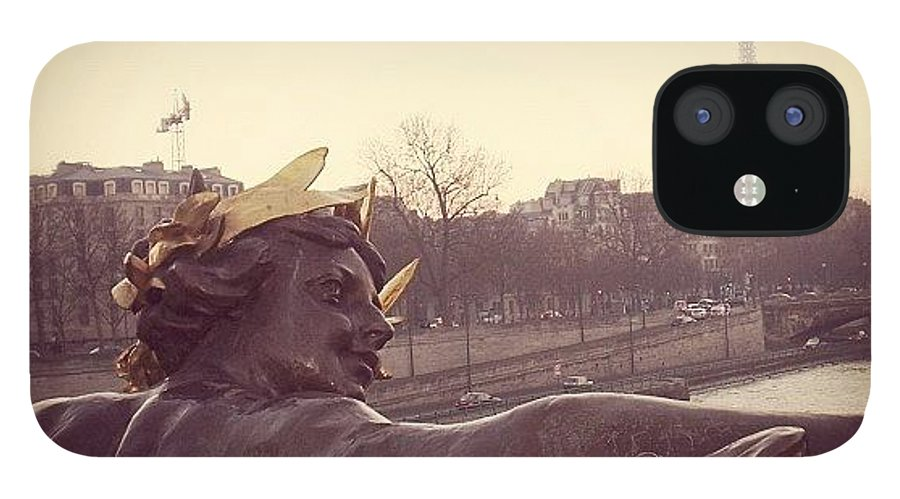 Bridge IPhone 12 Case featuring the photograph #mgmarts #france #paris #statue #bridge by Marianna Mills