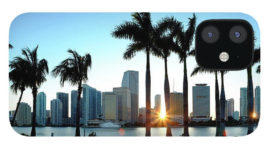 Downtown District IPhone 12 Case featuring the photograph Miami Skyline Viewed Over Marina by Travelpix Ltd