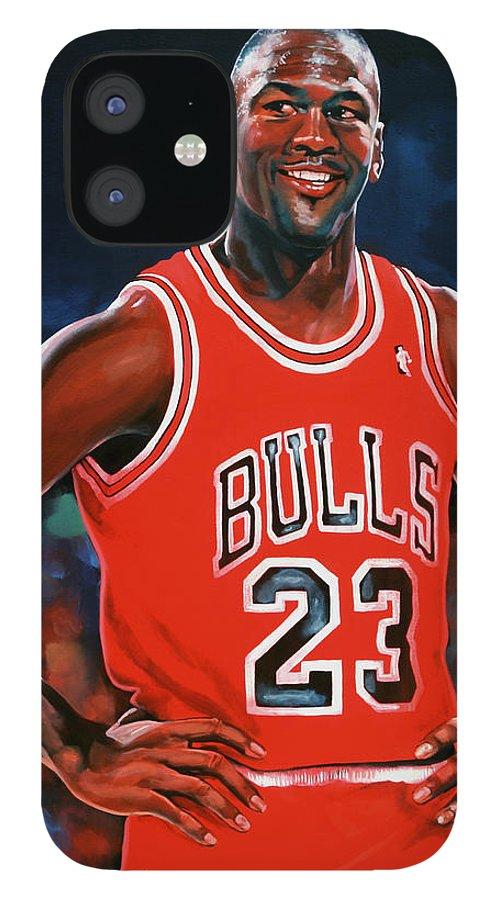 Michael Jordan IPhone 12 Case featuring the painting Michael Jordan by Paul Meijering