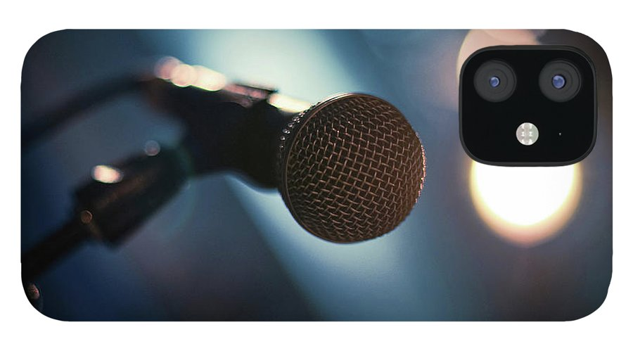 Microphone Stand iPhone 12 Case featuring the photograph Microphone Abstract Close Up In Concert by Alexandre Moreau