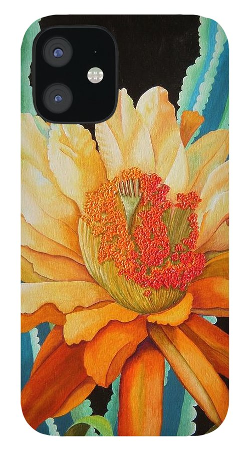 Acrylic iPhone 12 Case featuring the painting Midnight Bloom by Carol Sabo