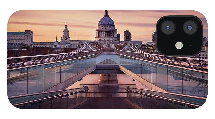 London Millennium Footbridge IPhone 12 Case featuring the photograph Millennium Bridge Leading Towards St by Roland Shainidze Photogaphy