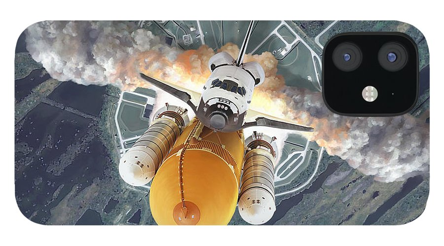 Space Shuttle IPhone 12 Case featuring the painting Mission Plus 10 by Mark Karvon