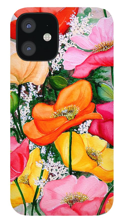 Poppies IPhone 12 Case featuring the painting Mixed Poppies by Karin Dawn Kelshall- Best