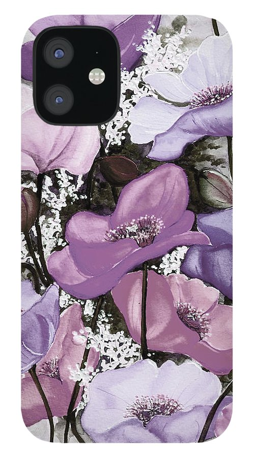 Purple IPhone 12 Case featuring the painting Mixed Poppies Purple by Karin Dawn Kelshall- Best