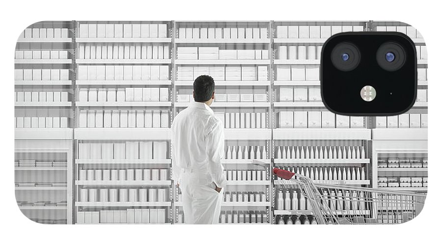 Internet IPhone 12 Case featuring the photograph Mixed Race Man Shopping On White by Colin Anderson Productions Pty Ltd