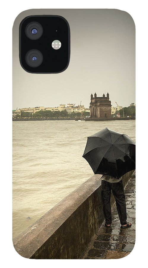 People iPhone 12 Case featuring the photograph Monsoon In Mumbai by Frank Bunnik