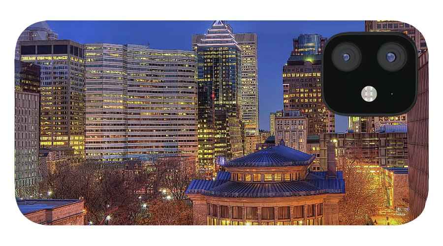 Tranquility iPhone 12 Case featuring the photograph Montreal Downtown At Dusk Hdr II by Jean Surprenant
