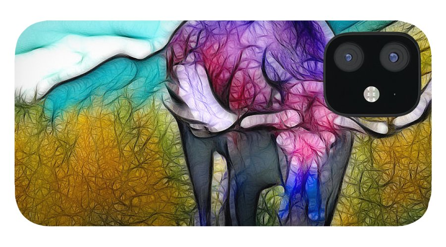 Moose IPhone 12 Case featuring the mixed media Moose in Pure Light by Francine Dufour Jones