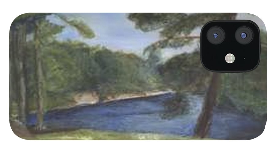 Moose River iPhone 12 Case featuring the painting Moose River by Sheila Mashaw