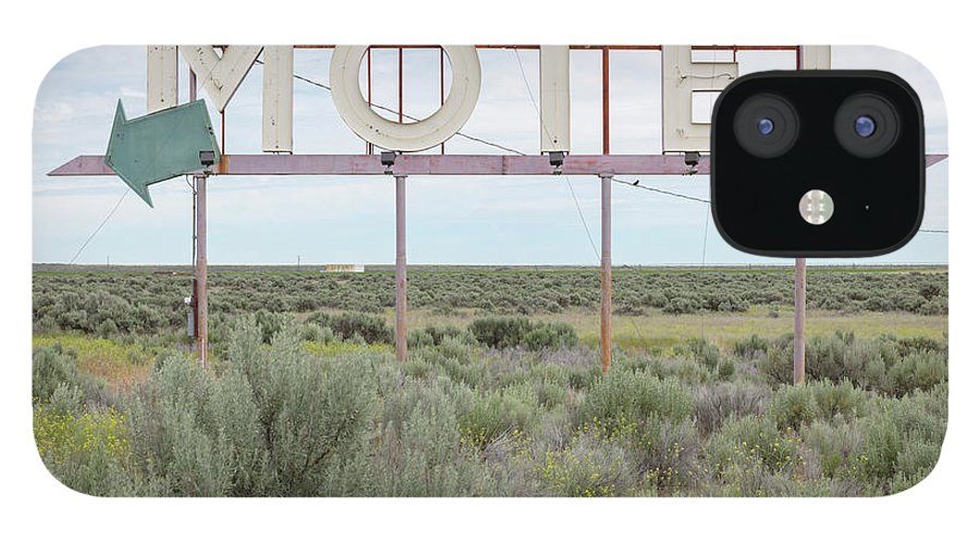 Grass IPhone 12 Case featuring the photograph Motel Sign In Field Of Sage Brush, Out by Mint Images