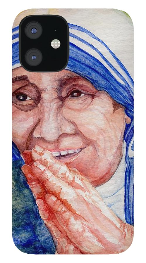 Elle Fagan IPhone 12 Case featuring the painting Mother Teresa by Elle Smith Fagan