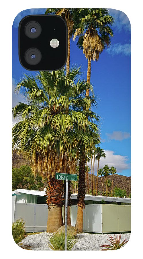 Fan Palm Tree IPhone 12 Case featuring the photograph Mountains, Plants & Mid-century Home In by Jaylazarin