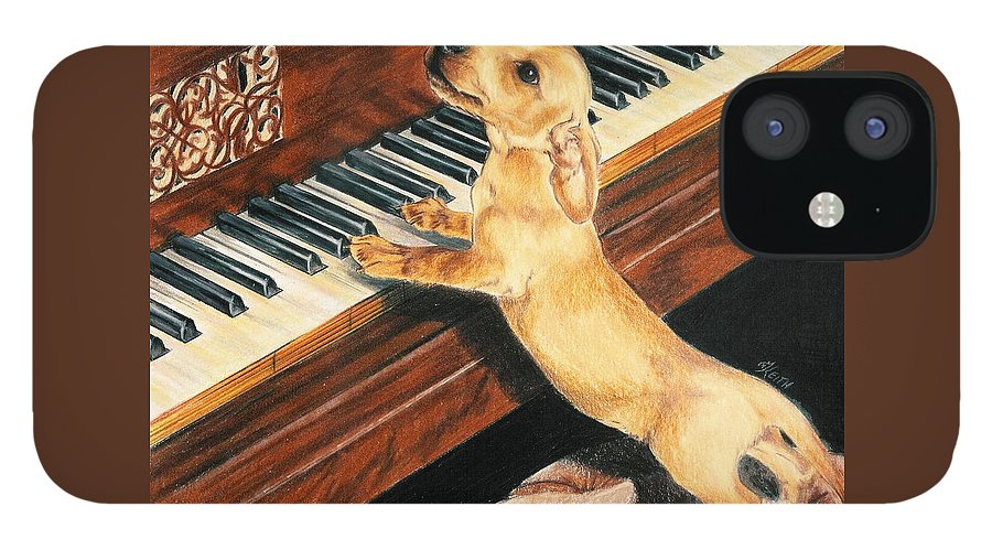 Purebred Dog IPhone 12 Case featuring the drawing Mozart's Apprentice by Barbara Keith