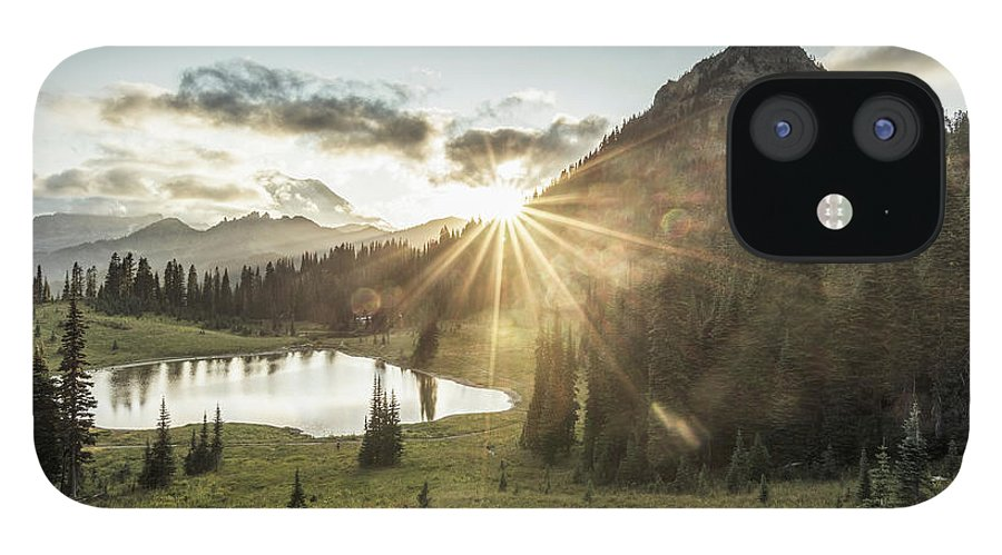 Scenics IPhone 12 Case featuring the photograph Mt.rainier In Sunset by Chinaface