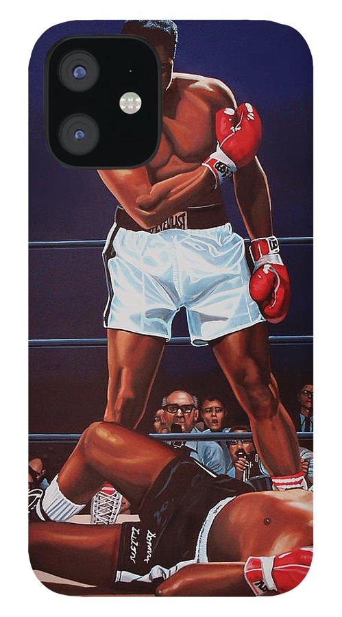 Mohammed Ali Versus Sonny Liston IPhone 12 Case featuring the painting Muhammad Ali versus Sonny Liston by Paul Meijering