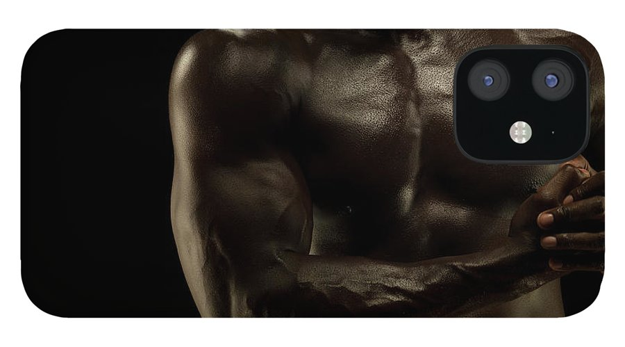 Toughness IPhone 12 Case featuring the photograph Naked Athletic Male,detail Muscular by Jonathan Knowles