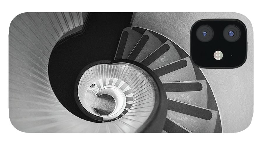 Steps IPhone 12 Case featuring the photograph Narrow Circular Staircase Abstract by Art Wager