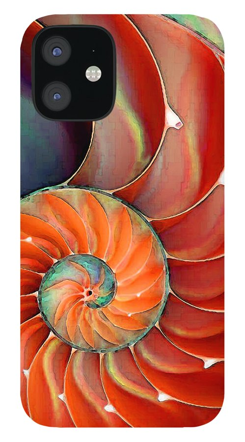 Nautilus iPhone 12 Case featuring the painting Nautilus Shell - Nature's Perfection by Sharon Cummings