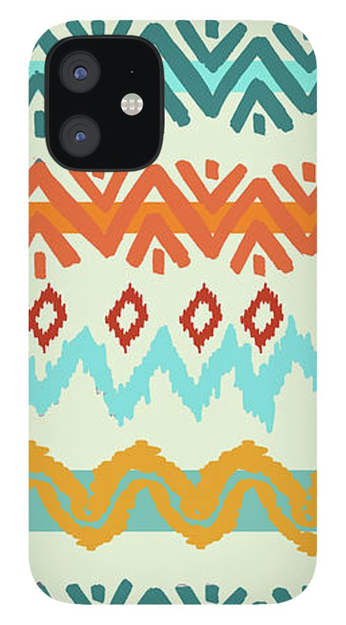 Navajo IPhone 12 Case featuring the digital art Southwest Pattern I by Nicholas Biscardi