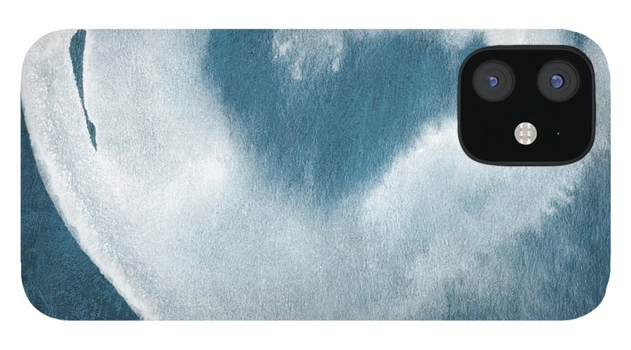 Love IPhone 12 Case featuring the mixed media Navy Blue and White Love by Linda Woods