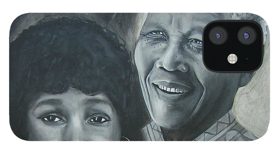 From Black & White Series IPhone 12 Case featuring the painting Nelson and Winnie by Howard Stroman