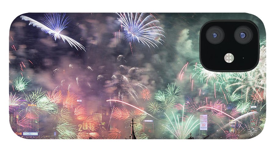 Firework Display IPhone 12 Case featuring the photograph New Year Fireworks Hong Kong Asia by Steffen Schnur