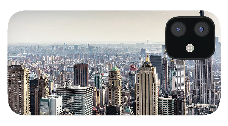 Scenics IPhone 12 Case featuring the photograph New York City Skyline by Denise Panyik-dale