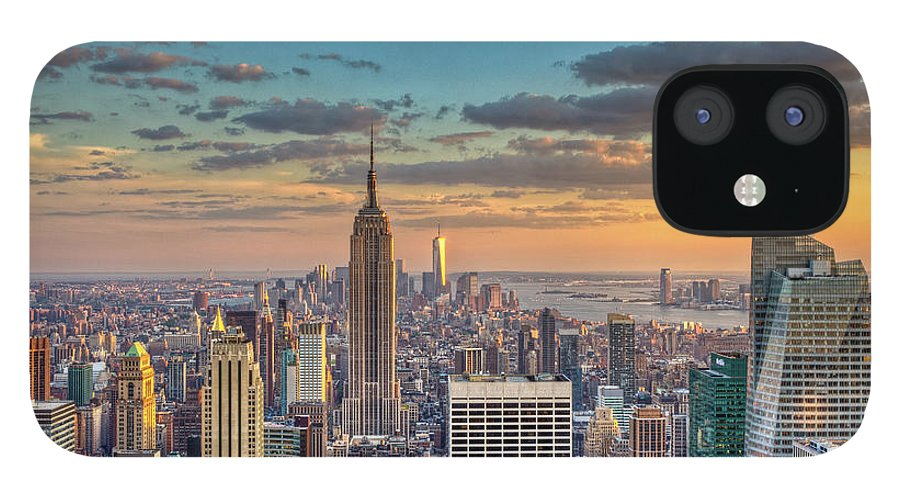 Tranquility IPhone 12 Case featuring the photograph New York Skyline Sunset by Basic Elements Photography