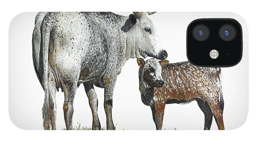 Nguni IPhone 12 Case featuring the painting Nguni Cow and Calf 2 by Edgar Pretorius