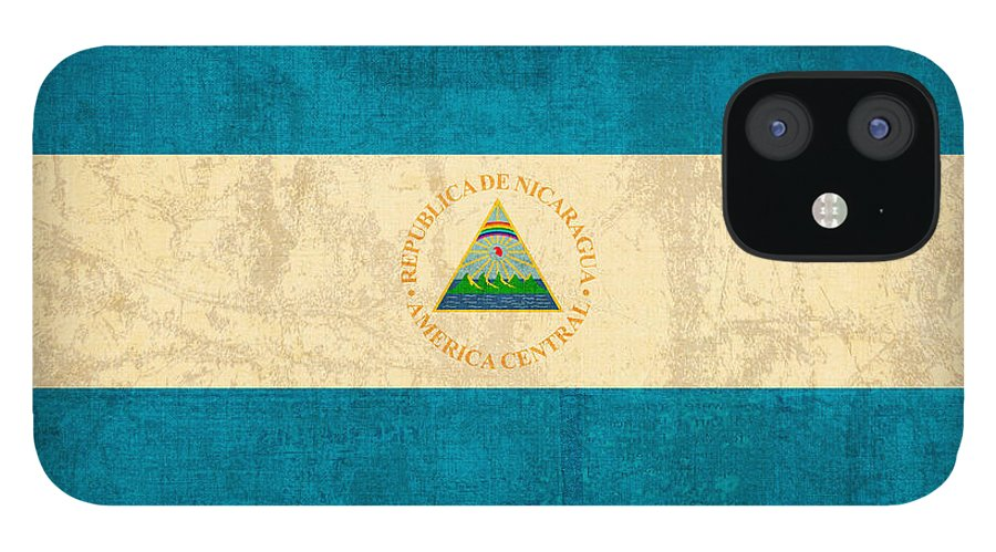 Nicaragua IPhone 12 Case featuring the mixed media Nicaragua Flag Vintage Distressed Finish by Design Turnpike