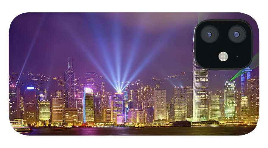 Chinese Culture IPhone 12 Case featuring the photograph Night Cityscape Of Hongkong by Ithinksky